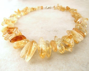 Citrine Necklace Gemstone Gold Topaz November Birthstone BellinaCreations Bellina Creation