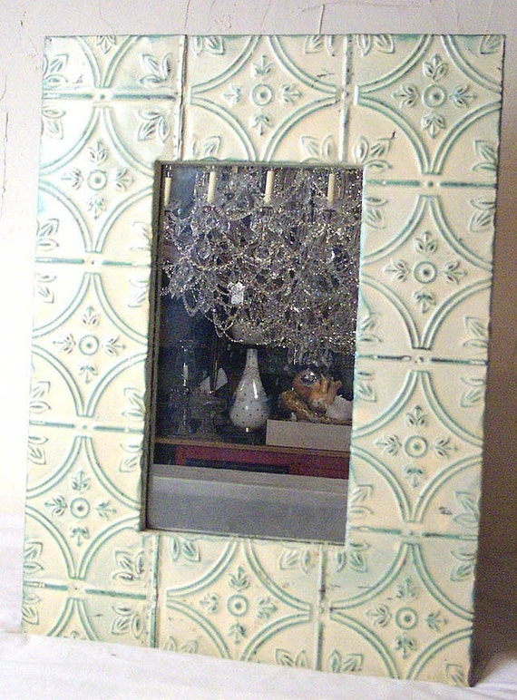 Vintage Tin Framed Mirror, Green and White Shabby/Chic look