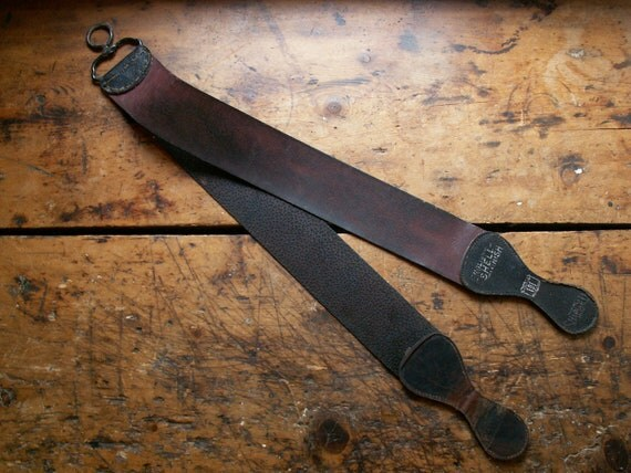 Vintage Double Sided Leather Razor Sharpening Strop
