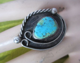 Huge Vintage Turquoise Ring Native American size 8 signed