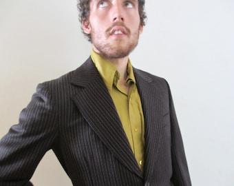 60s Vintage Men's Multi Stripe Wool Blazer Jacket 40 regular