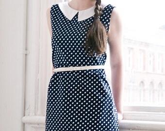 Polka dot peter pan collar 60s shift mini dress, back to school