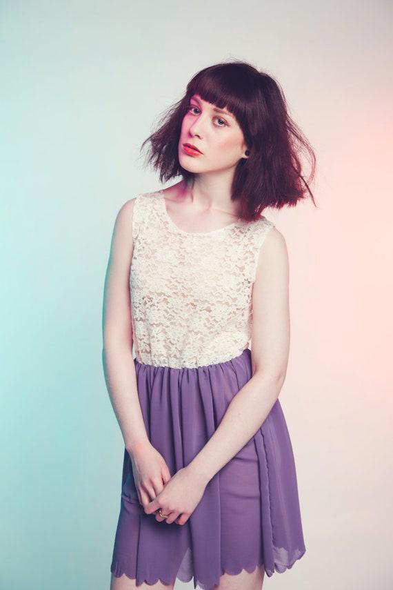 Purple ethereal lace and chiffon dress
