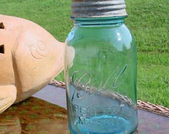 Antique Quart Aqua Blue Ball Perfect Mason Jars with Zinc Lids