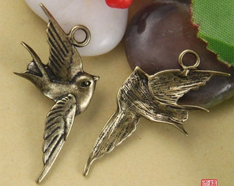 4pcs Brass Flying Swallow Charm