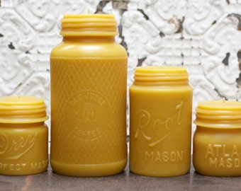 "Beeswax Candle - antique bottle shaped - XL. ""Mason Collection"" - by Pollen Arts"