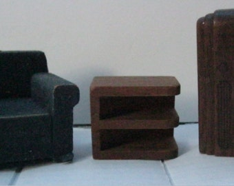 Vintage Strombecker Wood Doll House Furniture 3 p Set Arm Chair Side Table Radio