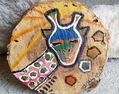 whimsical giraffe named carlos .. tribal safari painting on wood .. nursery kids art