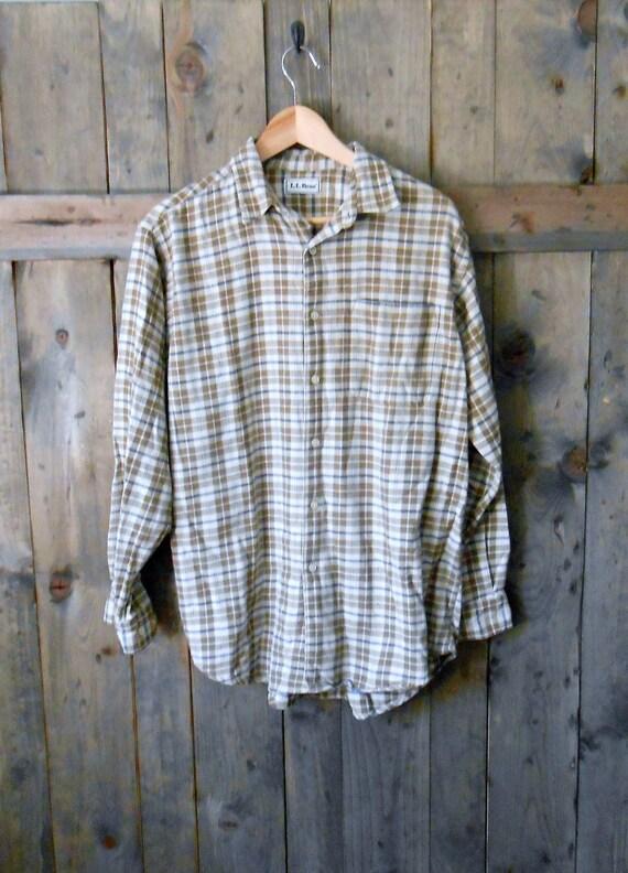 vintage LL BEAN 80s tan brown plaid cotton button up shirt / mens xlarge