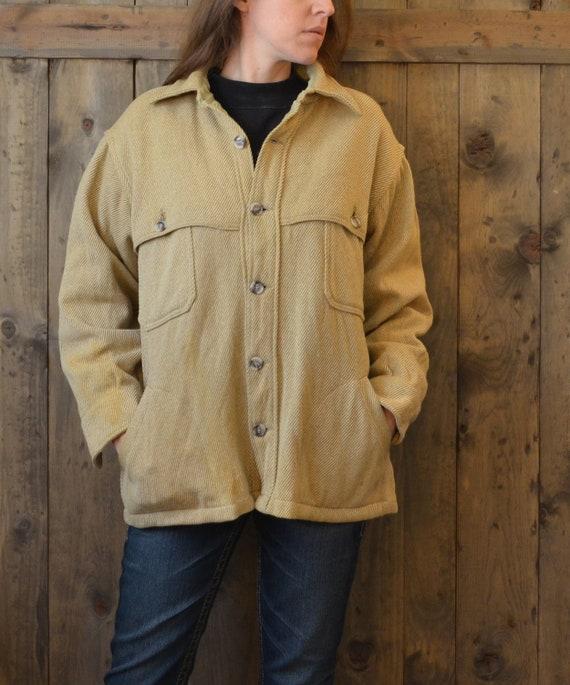 WOOLRICH tan wool tweed shirt jacket / M L