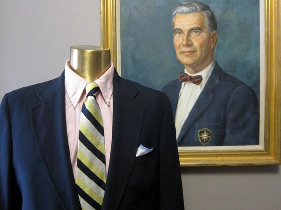 Vintage Brooks Brothers 41L Lightweight Navy Sack Blazer with Triple Patch Pockets