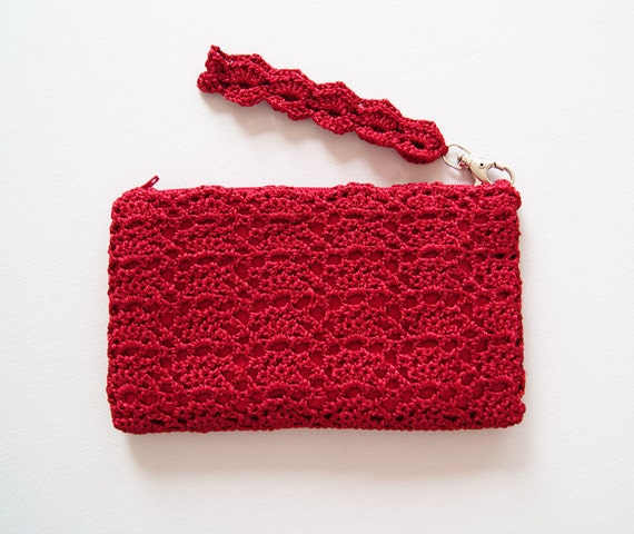 Scarlet Red Crochet Clutch Bag, Handmade Crochet Clutch in Christmas ...