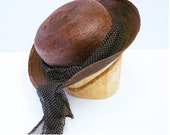 Vintage 1930s brown copper straw boater hat with scarf