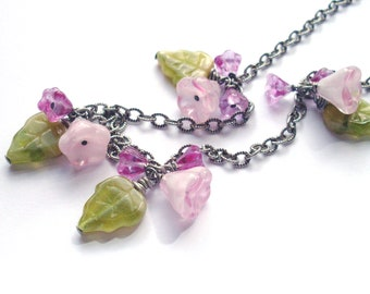 Flower leaf necklace, green pink posies, glass bead dangles on chain dark antiqued silver, Spring blossoms posy necklace flower bead jewelry