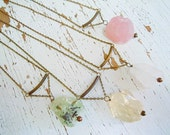 Raw Crystal Gemstone Necklace - Boho Chic - Tribal Wear - Geometric -Feminine - Earthy - Rustic - Simple Necklace