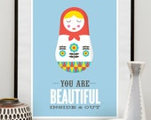 Love print, Inspitational quote, matryoshka print, russian doll  print, retro nursery art, love poster, baby blue,wall print wall art, A3