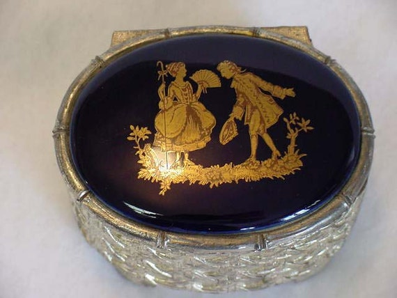 Vintage Cast Metal 1950's Jewelry Box Porcelain Top Cobalt Blue Romantic Couple