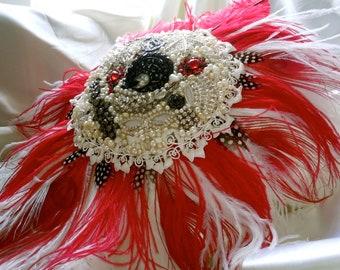 Brooch Bouquet - Bridal Brooch Bouquet - Broach Bouquet - Red Brooch Bouquet - Gothic Brooch Bouquet - Feathered Brooch Bouquet