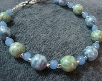 Light Blue and Green Marbeled Bracelet