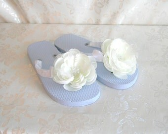 Bridal Flip Flops, Hawaiian Slippers, White Satin Wrapped and Embellished With a Creamy White Flower