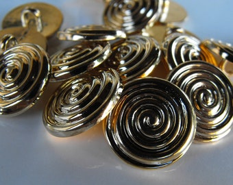 """25 Gold Flat Spiral Small Round Shank Buttons Size 9/16"""""""