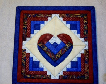 Dark Blue And Burgundy Heart Faux Quilt Picture