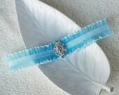 Something Blue Garter Rhinestone Crystal Ribbon Lace Garter Turquoise Blue GR014LX