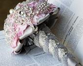 Luxury Vintage Bridal Brooch Bouquet - Pearl Rhinestone Crystal - Silver Light Blush Pink Grey - BB018LX