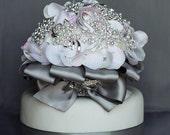 Vintage Bridal Brooch Bouquet Wedding Cake Topper - Pearl Rhinestone Crystal - Silver White Ivory Pink Grey CT007LX
