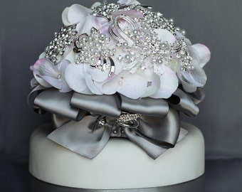 Vintage Bridal Brooch Bouquet Wedding Cake Topper - Pearl Rhinestone Crystal - Silver White Ivory Pink Grey CT007LX