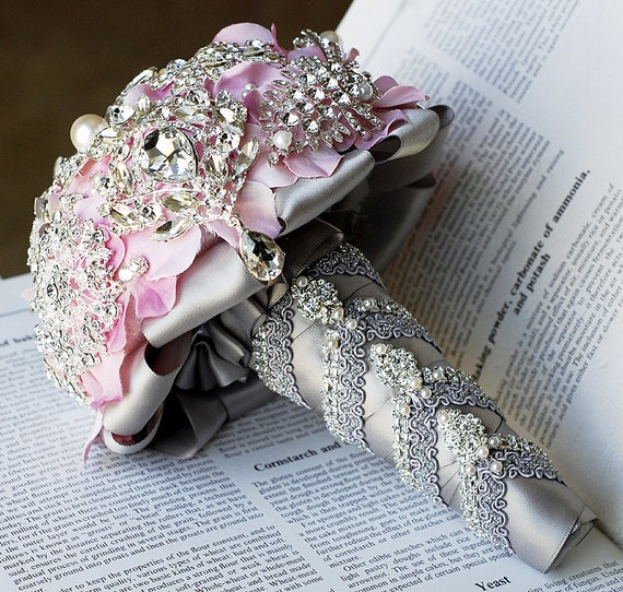 Luxury Vintage Bridal Brooch Bouquet - Pearl Rhinestone Crystal - Silver Light Blush Pink Grey - BB018LX