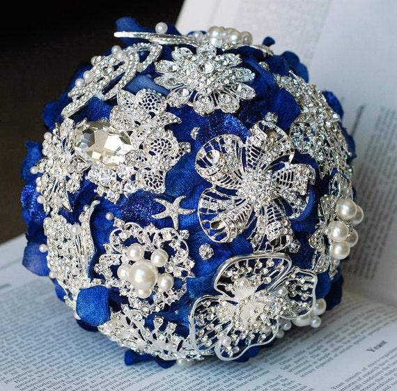 Vintage Bridal Brooch Bouquet Pearl Rhinestone Crystal - Silver Dark Royal Blue - One Day RUSH ORDER Available - BB007LX
