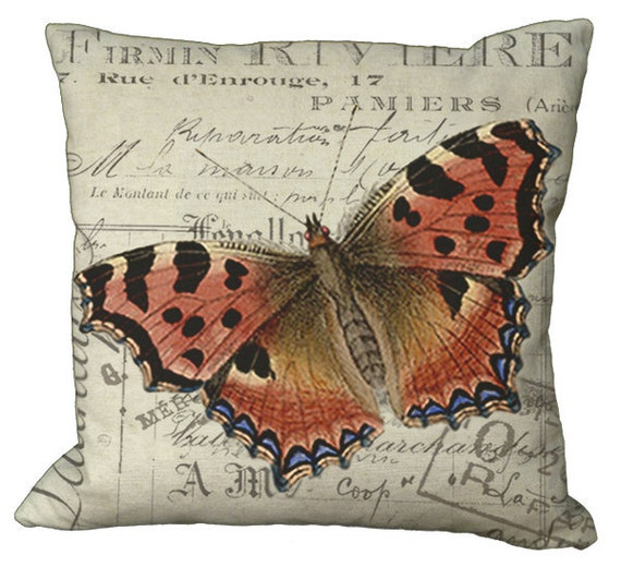 Rust and Blue Butterfly  in Choice of 14x14 16x16 18x18 20x20 22x22 24x24 26x26 inch Pillow Cover