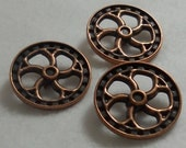 Steampunk Buttons - Flywheel - Antique Copper - 3 PC Set - LARGE - Steam Punk, Industrial, Post Apocalyptic Fantasy