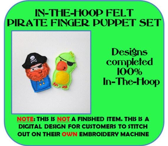 In The Hoop Felt Pirat Finger Puppet Embroidery Design Set