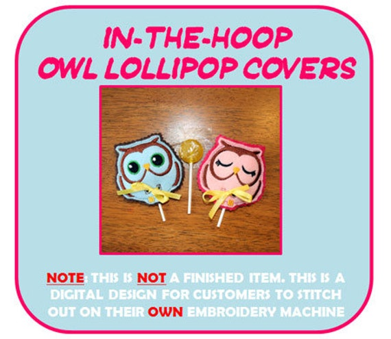 In The Hoop Owl Lollipop Holder Applique Design for Embroidery Machine