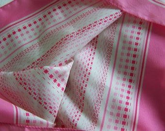 Vintage 70's Square Scarf Pink Passion Polyester Made in Italy