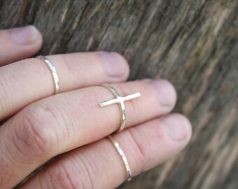 thin sterling silver first knuckle rings set of three tiny delicate stackable rings for above knuckle cross ring