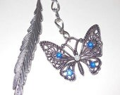 Beautiful tibetan silver butterfly bookmark with blue jewels