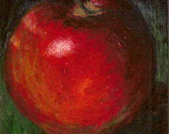 An APPLE A DAY Original Acrylic painting on board 10 X 7""