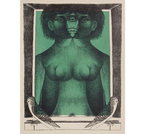 Mirror Goddess - 1950s Lithograph by G Stefula