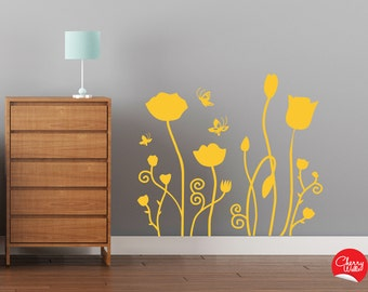 Flowers Wall Decal Pattern - Yellow Wild Flowers and butterflies. Original Floral Nursery Wall decoration removable sticker