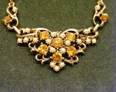On Sale Tiara Style Choker with Amber Rhinestones and Seed Pearls