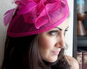 "Fuchsia Fascinator - ""Penny"" Mesh Hat Fascinator with Mesh Ribbons and Fuchsia Feathers"