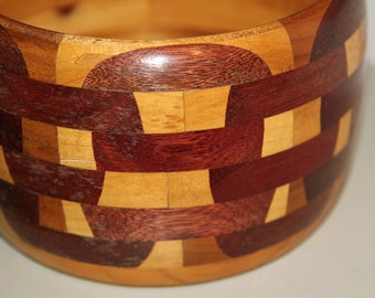 Rare Handmade Inlaid Wood Bowl