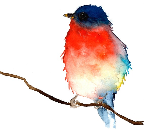 Original Bird Watercolor - Little Blue and Red Bird