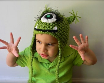 Monster hat  green with one eye