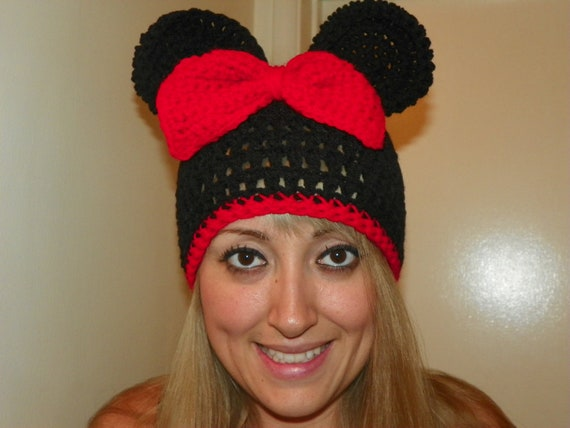 Minnie Mouse Hat with a Red Bow and Trim  Teen Adult  Hand Crochet  You Can Custom Order any Size