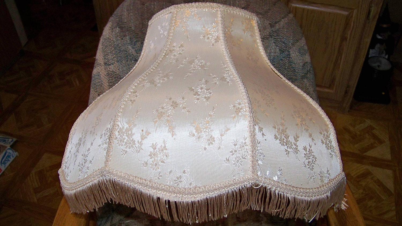 vintage large victorian lamp shade with fringe 19 inches. Black Bedroom Furniture Sets. Home Design Ideas
