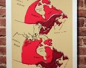 Canada Map Silkscreen Print Red